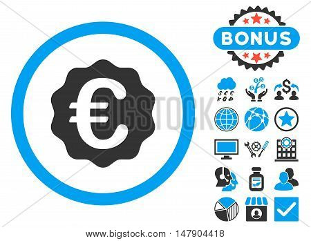 Euro Reward Seal icon with bonus design elements. Glyph illustration style is flat iconic bicolor symbols, blue and gray colors, white background.