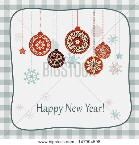 Vector design of new year`s card with snowflakes decorated balls and text Happy New Year on the retro background. EPS 10.