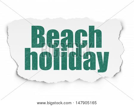 Travel concept: Painted green text Beach Holiday on Torn Paper background with  Hand Drawn Vacation Icons