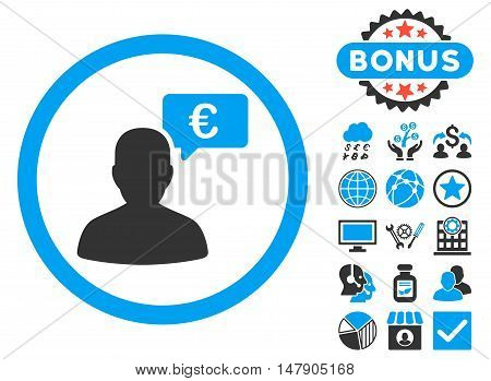 European Person Opinion icon with bonus pictures. Glyph illustration style is flat iconic bicolor symbols, blue and gray colors, white background.
