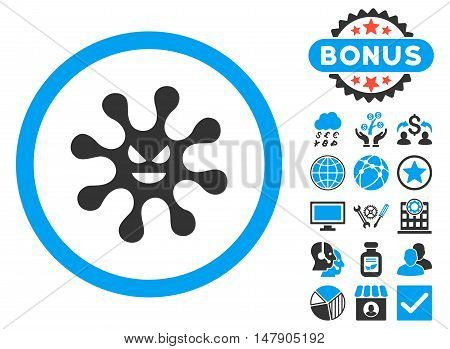 Evil Bacteria icon with bonus pictures. Glyph illustration style is flat iconic bicolor symbols, blue and gray colors, white background.