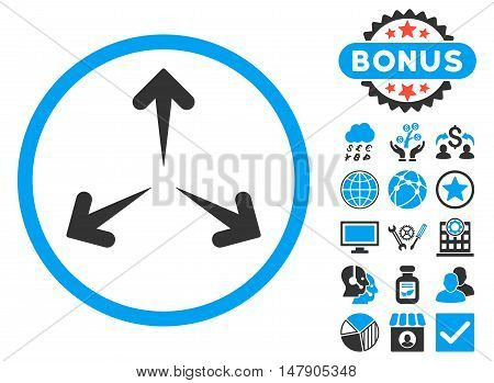 Expand Arrows icon with bonus design elements. Glyph illustration style is flat iconic bicolor symbols, blue and gray colors, white background.