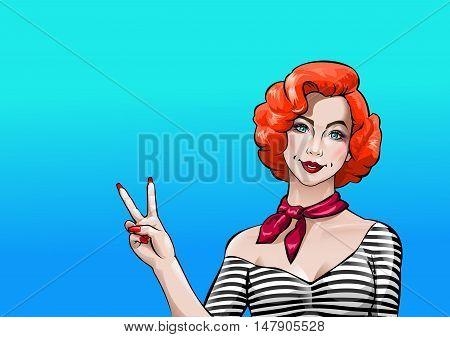 Vector illustration pop art girl showing Victory sign
