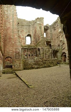 A view of the interior ruins of Crichton castle