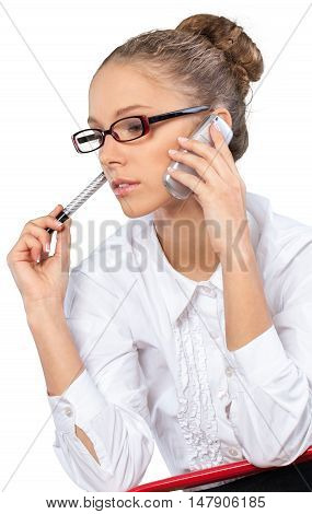 Beautiful young businesswoman bored listening to phone call
