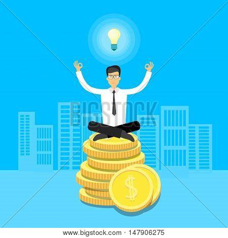 Asian Business Man Sit Yoga Lotus Pose On Coins Light Bulb Flat Vector Illustration