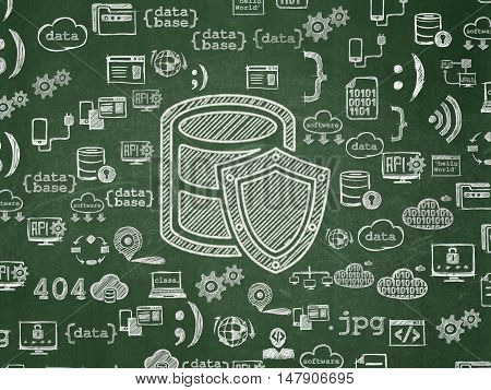Database concept: Chalk White Database With Shield icon on School board background with  Hand Drawn Programming Icons, School Board