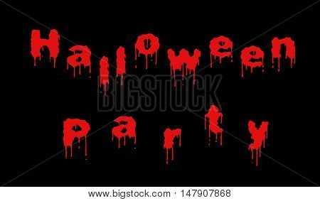 Words Halloween party written out of dripping red letters on the black background