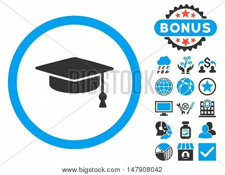 Graduation Cap icon with bonus images. Glyph illustration style is flat iconic bicolor symbols, blue and gray colors, white background.