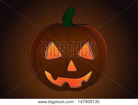Halloween Pumpkin isolated on dark background illustration