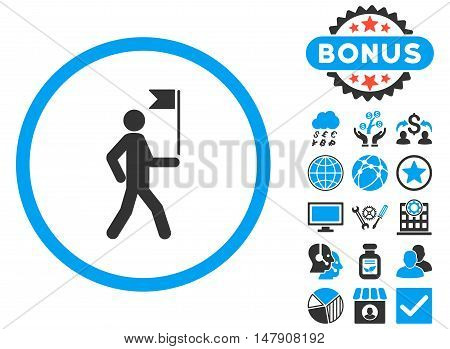 Guide icon with bonus pictures. Glyph illustration style is flat iconic bicolor symbols, blue and gray colors, white background.