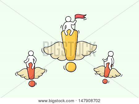 Sketch of flying exclamation points with little workers. Doodle cute miniature with signs and teamwork. Hand drawn cartoon vector illustration for business design.