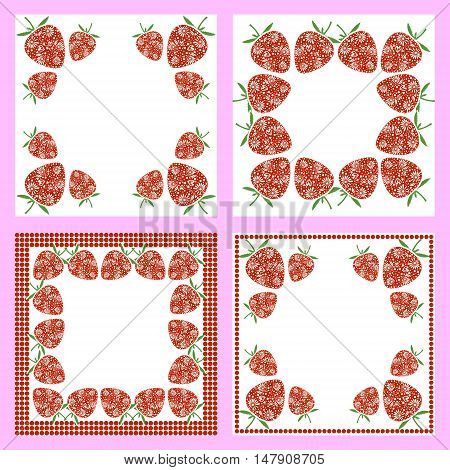 Vector set of cards with berries. Empty square form with ornamental strawberry cherry and border with dots. Decorative frames. Series of vector Cards Blanks and Forms.