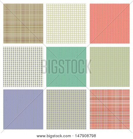 Set of vector seamless texture. Pastel different checkered lined backgrounds in pastel colors fabric swatch samples texture of cloth. Series of Seamless vector Textures.