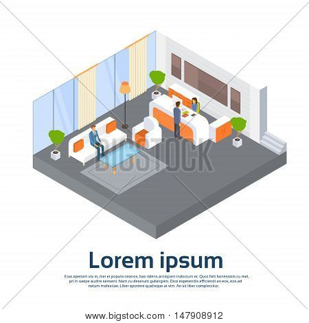 Business Office Reception Waiting Room Businesspeople Workplace 3d Isometric Vector Illustration