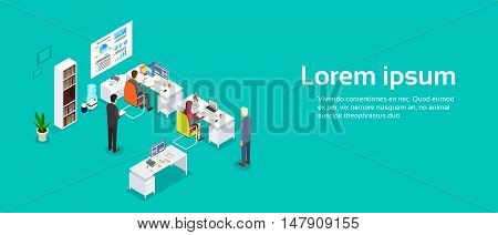 Office Interior, Businesspeople Working Computer Banner Copy Space 3d Isometric Vector Illustration