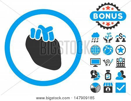 Heart Organ icon with bonus symbols. Glyph illustration style is flat iconic bicolor symbols, blue and gray colors, white background.