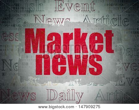 News concept: Painted red text Market News on Digital Data Paper background with   Tag Cloud