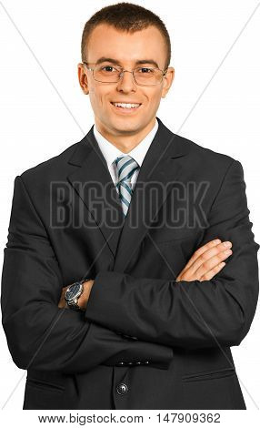 Happy Young Businessman with Glasses and Arms Folded - Isolated
