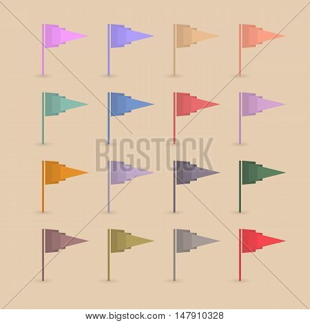 Set of sixteen different colored paper flags with shadow isolated on a yellow background origami design vector illustration.
