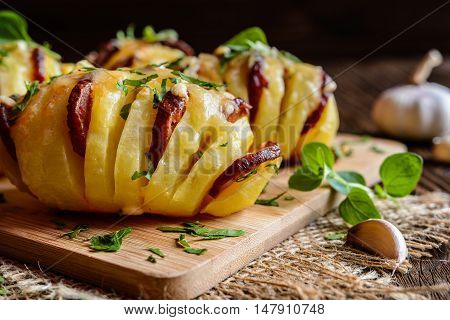 Baked Potatoes Stuffed With Sausage, Cheese, Garlic And Herbs