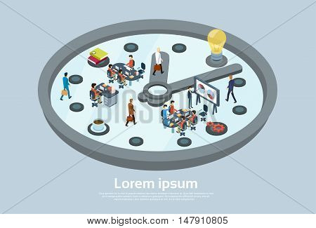 Business People Working Hour Clock Time Management Concept 3d Isometric Vector Illustration