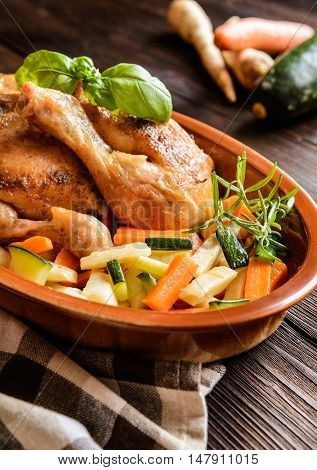 Roasted Chicken Meat With Vegetable Garnish