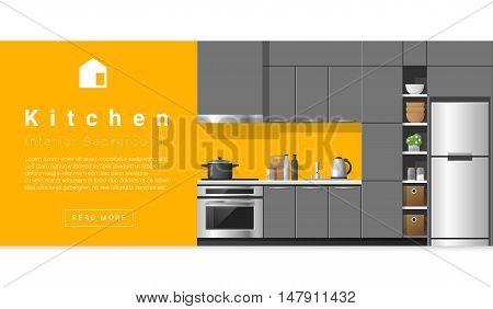 Interior design Modern kitchen background , vector, illustration