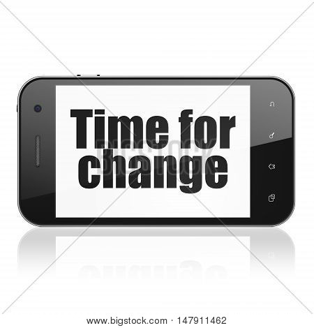 Time concept: Smartphone with  black text Time for Change on display,  Tag Cloud background, 3D rendering