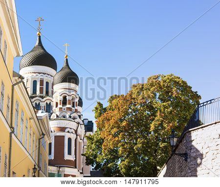 Towers of Aleksander Nevski cathedral in Tallinn Estonia