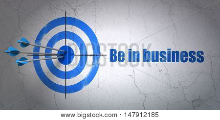 Success business concept: arrows hitting the center of target, Blue Be in business on wall background, 3D rendering
