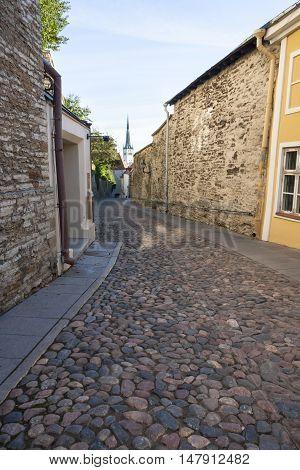 Long cobble stone street called Pikk Jalg (Long leg) in the old town of Tallinn Estonia