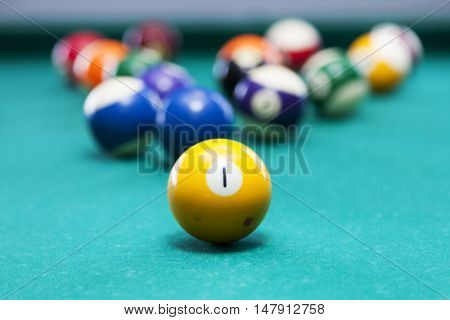 billiard balls scattered in a pool table