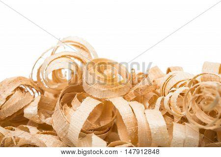 wood shavings variation isolated on white background
