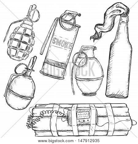 Vector Sketch Set Of Explosive Weapons