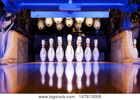 Bowling Pins Ready To Be Felled On The Track