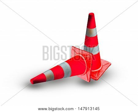 Funnel caution sign on road isolated on white background