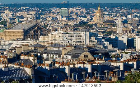 The view of Parisian houses from Montmartre hill Paris France.