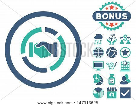 Acquisition Diagram icon with bonus design elements. Glyph illustration style is flat iconic bicolor symbols, cobalt and cyan colors, white background.