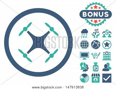 Airdrone icon with bonus design elements. Glyph illustration style is flat iconic bicolor symbols, cobalt and cyan colors, white background.