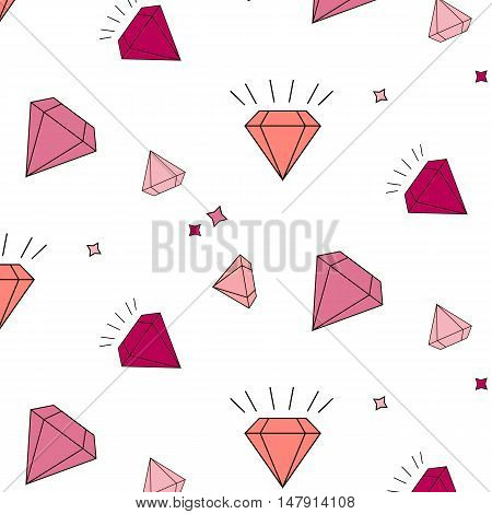 Vector diamonds and crystals repetition pattern on striped background. Simple geometric luxury objects. Jewels sparkle cute design