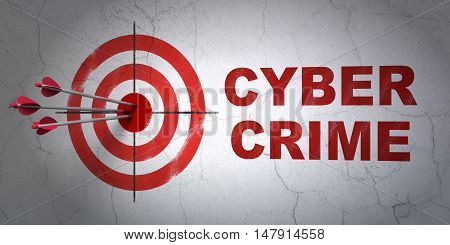 Success privacy concept: arrows hitting the center of target, Red Cyber Crime on wall background, 3D rendering