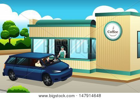 A vector illustration of People Buying Coffee at The Drive-thru Coffee Shop