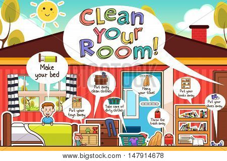 A vector illustration of Kids Cleaning Room Chores Infographic