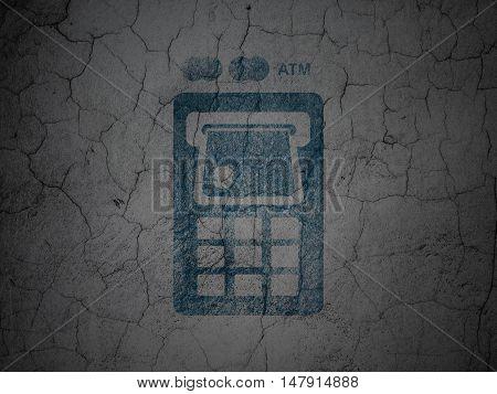 Money concept: Blue ATM Machine on grunge textured concrete wall background