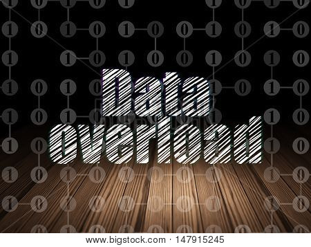 Data concept: Glowing text Data Overload in grunge dark room with Wooden Floor, black background with Scheme Of Binary Code