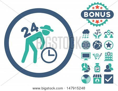 Around the Clock Work icon with bonus images. Glyph illustration style is flat iconic bicolor symbols, cobalt and cyan colors, white background.
