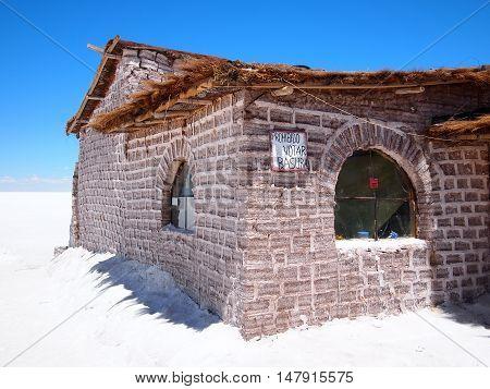 Uyuni, Bolivia - September 25, 2011: Salt hotel built out of salt bricks in the middle of the Salar the Uyuni salt flats in Bolivia.