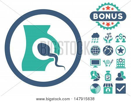 Artificial Insemination icon with bonus images. Glyph illustration style is flat iconic bicolor symbols, cobalt and cyan colors, white background.