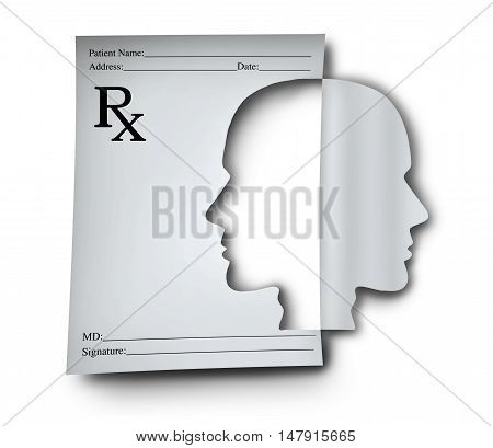 Mental health medication and psychiatric medicine concept as a doctor prescription note shaped as a human head as a medical symbol for brain illness or cognitive disorder with 3D illustration elements.